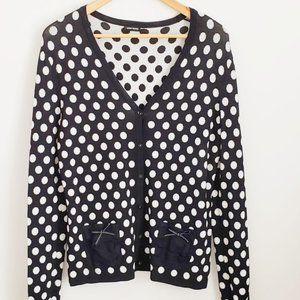 navy blue white polka dot cardigan vest